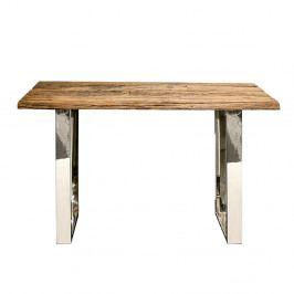 Odkládací stolek z recyklovaného dřeva 130x40 cm s nerezovou ocelí DO243