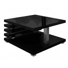Konferenční stolek 60x60 cm s odkládacím prostorem v černém lesku KN1098