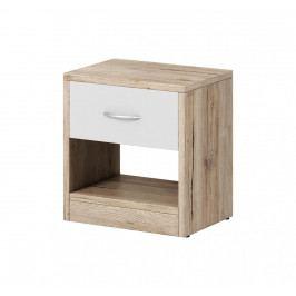 Noční stolek v kombinaci dekoru dub san remo a bílé barvy s jednou zásuvkou F1459