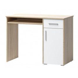 Psací stůl v jednoduchém designu v kombinaci dekoru dub sonoma a bílé barvy 1d1s F1461