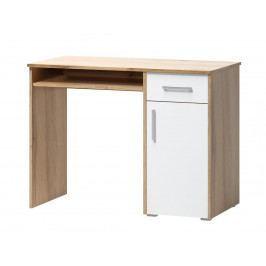 Psací stůl v jednoduchém designu v kombinaci dekoru dub wotan a bílé barvy 1d1s F1461