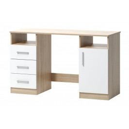 Psací stůl v jednoduchém designu v kombinaci dekoru dub sonoma a bílé barvy 1d3s F1461