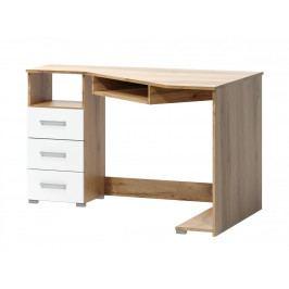 Rohový psací stůl v jednoduchém designu v kombinaci dekoru dub wotan a bílé barvy F1461