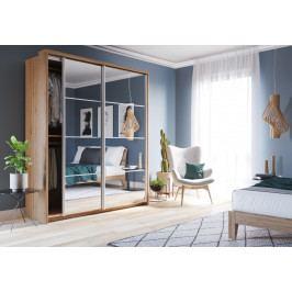 Šatní skříň 180 cm s posuvnými dveřmi se zrcadly a korpusem dub shetland KN1163