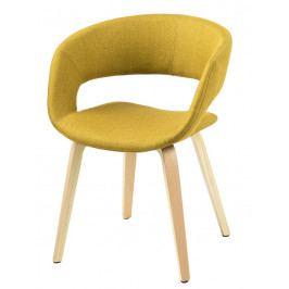 Jídelní židle čalouněná žlutou látkou na dřevěné podnoži DO121