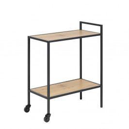 Servírovací stolek v dekoru dub divoký s černou kovovou konstrukcí na kolečkách DO103