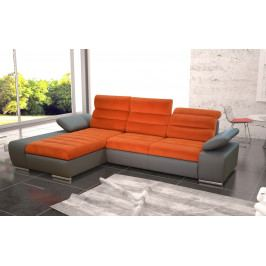 Rozkládací rohová sedačka v oranžové a šedé barvě s úložným prostorem typ levá KN1178