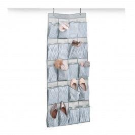 Závěsný organizér na dveře šedobílá textilie E441