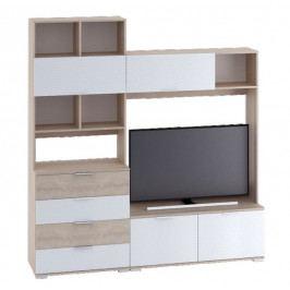 TV stěna v nadčasovém bílém lesku v kombinaci s dekorem dub sonoma KN1179
