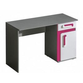 Pracovní stůl 120x50 cm v šedé barvě antracit v kombinaci s bílou a růžovou barvou KN1046