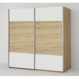 Šatní skříň 200 cm s posuvnými dveřmi v bílé barvě s dubovým pásem a korpusem dub KN1818