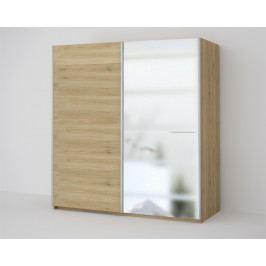 Šatní skříň 200 cm s posuvnými dveřmi se zrcadlem v dekoru dub sonoma KN1818