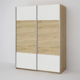 Šatní skříň 150 cm s posuvnými dveřmi v bílé barvě s dubovým pásem a korpusem dub KN1818