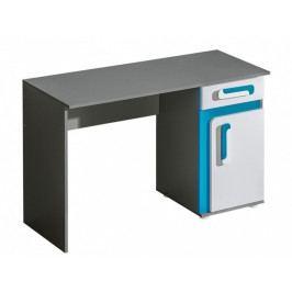 Pracovní stůl 120x50 cm v šedé barvě antracit v kombinaci s bílou a tyrkysovou barvou KN1046