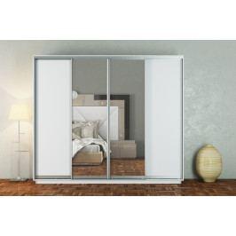 Šatní skříň 300 cm s posuvnými dveřmi se zrcadly v bílé matné barvě KN1108