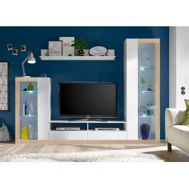 Obývací stěna v bílé matné barvě a dekoru dub sonoma KN1195