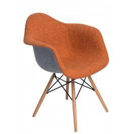 Křeslo s čalouněním v oranžové a šedé barvě s dřevěnou podnoží DO282