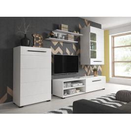 Obývací stěna v bílé barvě s černými úchyty F1466