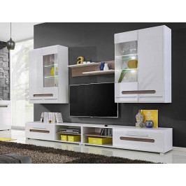 Obývací stěna v bílém lesku s prvky dekoru dub sonoma KN1212