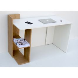 Pracovní stůl 120x55 cm v bílé matné barvě s policí v dekoru dub sonoma KN1213