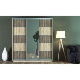 Šatní skříň 220 cm s posuvnými dveřmi se zrcadlem v dekoru dub sonoma a lanýž KN1242