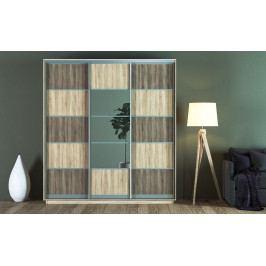 Šatní skříň 220 cm s posuvnými dveřmi v dekoru dub sonoma a dub lanýž KN1231