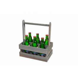 Dřevěná bedýnka šedá na 6 lahví