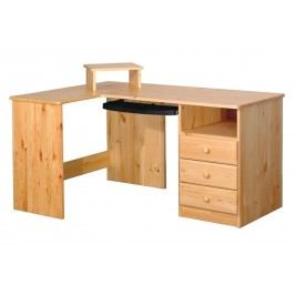Psací stůl rohový,smrk, 3 zásuvky B741