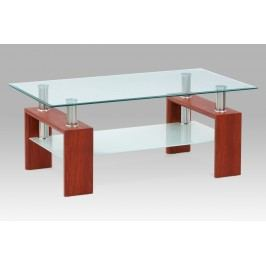 Konferenční stolek skleněný v dekoru třešeň a mléčnou poličkou AF-1024 TR2