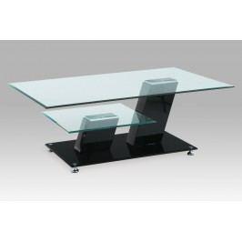 Konferenční stolek moderní skleněný s konstrukcí v černém vysokém lesku AHG-020 BK