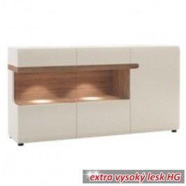 Komoda třídveřová s LED osvětlením v luxusní bílé barvě ve vysokém lesku TK026 TYP 42