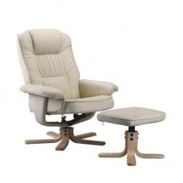 Relaxační křeslo v luxusním provedení textilní kůže béžová EDDIE