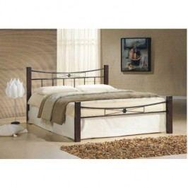 Manželská postel, dřevo ořech/černý kov, 140x200, PAULA