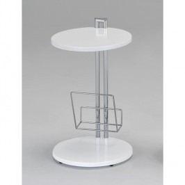 Příruční stolek na časopisy v luxusním vysokém lesku bílá ANABEL