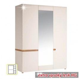 Skříň třídveřová v luxusní bílé barvě ve vysokém lesku TK026 TYP 22
