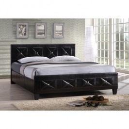 Manželská postel, s roštem, ekokůže černá, 180x200, CARISA