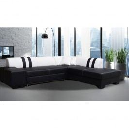 Sedací souprava v luxusním pravém provedení ekokůže bílé a černé barvy TK156