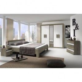 Ložnice (skříň, postel, 2 noční stolky) dub sonoma trufel/bílá, MEDIOLAN