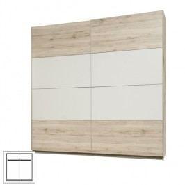 Skříň věšáková, s posuvnými dveřmi, dub pískový/bílá, VALERIA