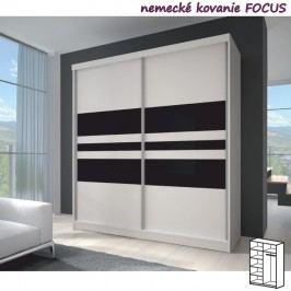 Dvoudveřová skříň, 183x218, s posuvnými dveřmi, bílá/černé sklo/bílá, MULTI 11