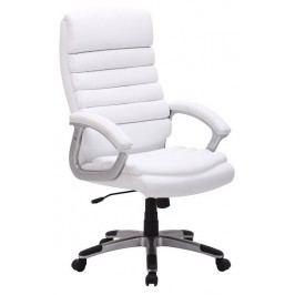 Kancelářské otáčecí křeslo čalouněné bílou koženkou typ Q087 KN104