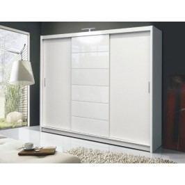 Šatní skříň s posuvnými dveřmi bílá, bílé sklo KN158