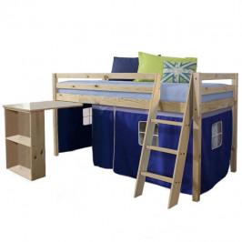 Postel dětská s PC stolem v přírodním provedení v kombinaci s modrou TK4021