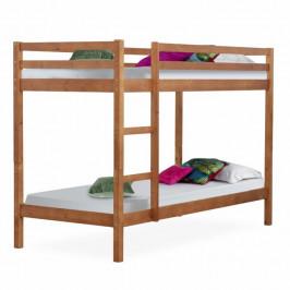 Dětská patrová postel, borovicové dřevo světlehnědá, VERSO