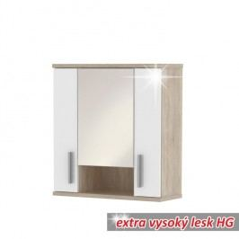 Závěsná skříňka, dub sonoma/bílá vysoký lesk, Lessy LI01