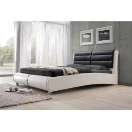 Manželská postel 180 x 200 cm v elegantní bílé a černé barvě s roštem KN334