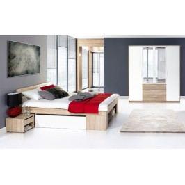Ložnicová sestava dub sonoma, bílá KN133 II (postel 140, skříň, 2 noční stolky)
