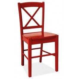 Dřevěná jídelní židle červené barvy v klasickém stylu KN268