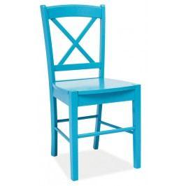 Dřevěná jídelní židle modré barvy v klasickém stylu KN268