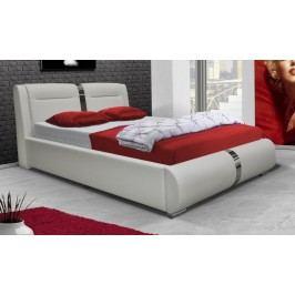 Čalouněná manželská postel o rozměrech 160 x 200 cm v bílé ekokůži VII KN256